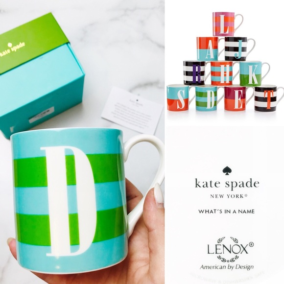 """kate spade Other - Kate Spade Lenox """"What's in a Name"""" Letter 'D' Mug"""